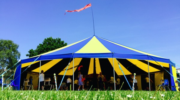 One of our Big Tops on the school field for a day of Circus shows and workshops